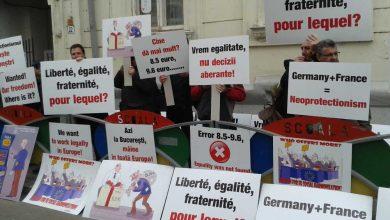 Transportatorii au protestat la ambasadele Germaniei si Frantei la Bucuresti