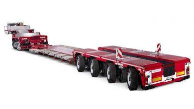 Faymonville are drept de utilizare a combinația de trailer cu jgheab pentru excavator și axe pendulare