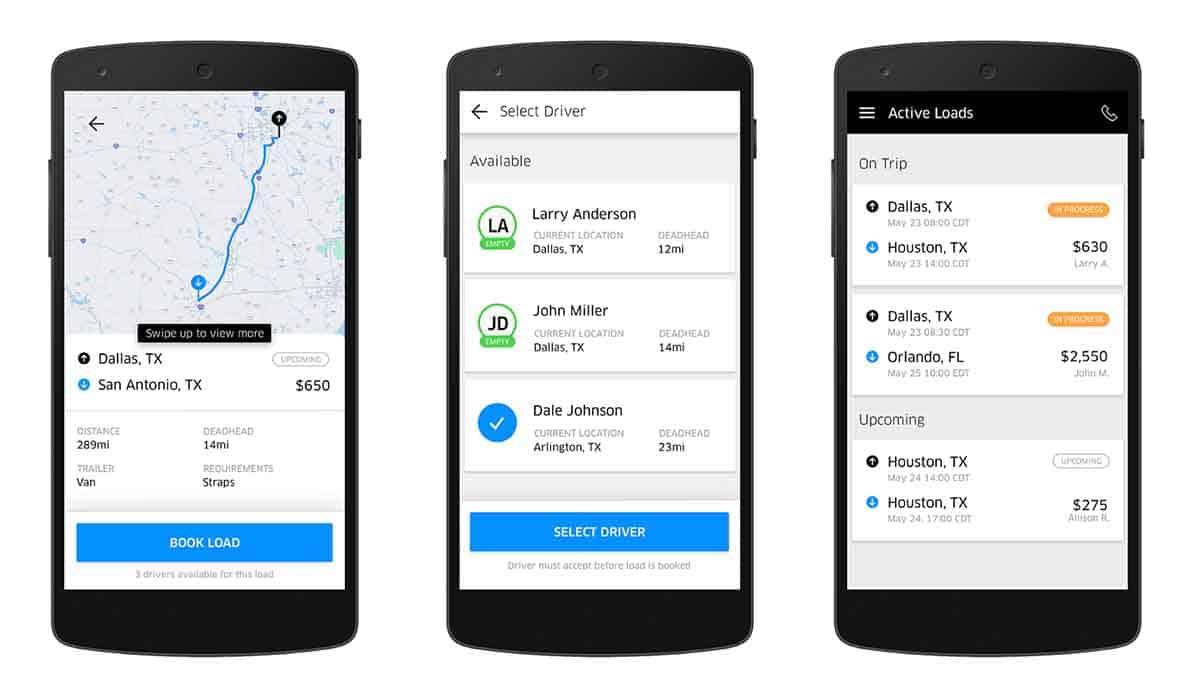 Lansată pe 12 mai 2017, aplicația Uber Freight a deschis drumul serviciul de ride-sharing Uber către o piață a intermedierii de transport de mărfuri de 700 miliarde de dolari în Statele Unite.