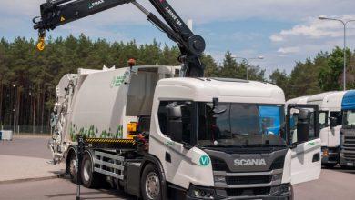 Un Scania L 340 CNG colectează deșeuri solide în Vilnius