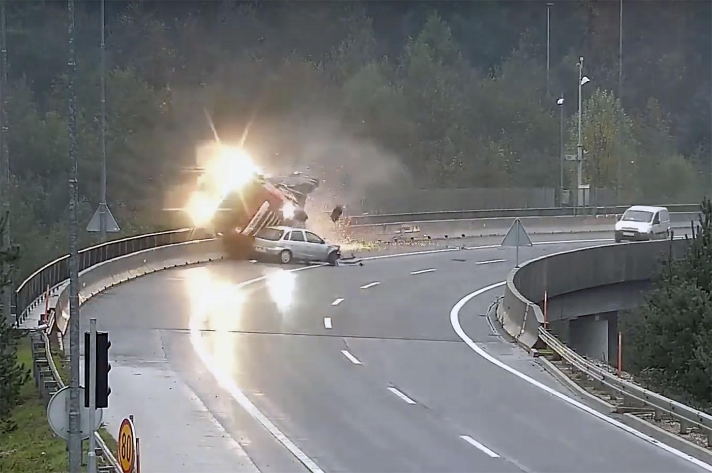 Șfârșit tragic pentru șoferul maghiar al unui camion pe centura Ljubljanei (VIDEO)