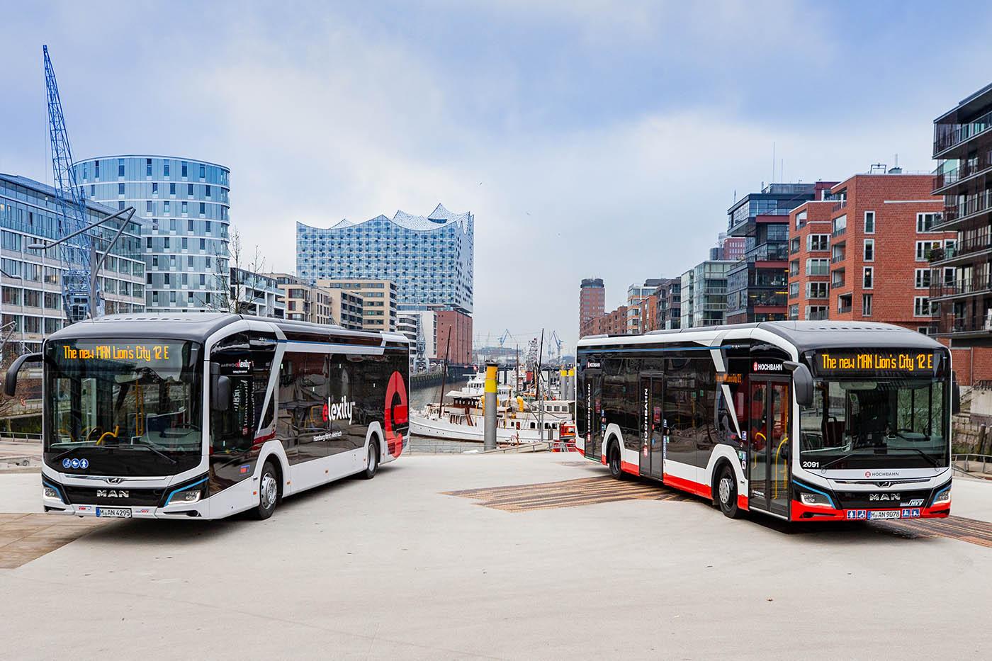 Orașul Hamburg operează primele două autobuze electrice MAN Lion's City E