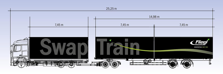 Hermes testează un camion extra-lung cu sistem interschimbabil Fliegl Swap-Train