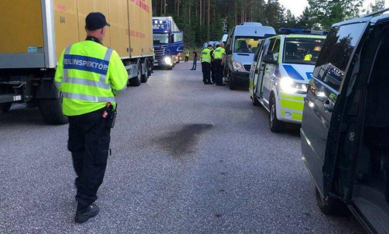 Traficului greu de mărfuri controlat de poliția suedeză