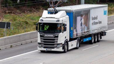 Knauf Gips a început testele cu Scania R 450 Hybrid cu pantograf