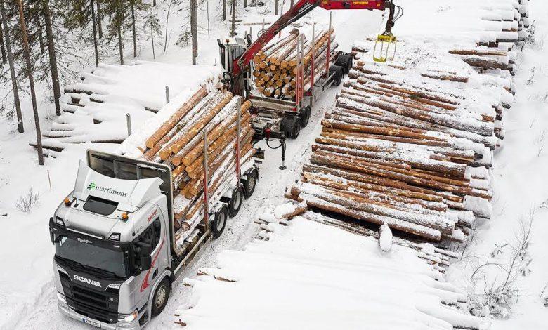 Impresii despre noul Scania V8 testat în secret în transportul de bușteni din Suedia
