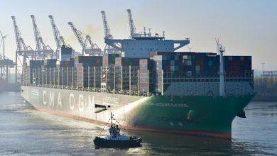 Cel mai mare port container propulsat cu LNG a ajuns în portul Hamburg