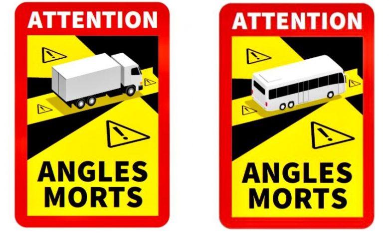 """Comandă autocolant """"Atenție! Unghiuri Moarte"""" pentru camioane (Franța)"""