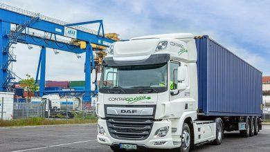 Contargo transportă containere cu două camioane electrice DAF CF