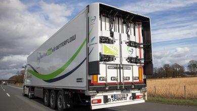 Combinație aerodinamică între un cap tractor Actros și o remorcă Schmitz Cargobull cu extensii