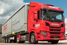 Combinație de 50 de tone tractată de un model Scania cu biogaz