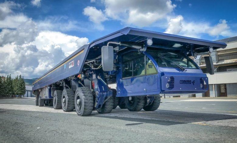 Camion special în Franța: cabina sub platformă și sarcină utilă de 140 de tone