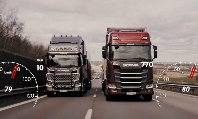Scania 770 vs 730, cu 64 de tone, în urcare dificilă (VIDEO)