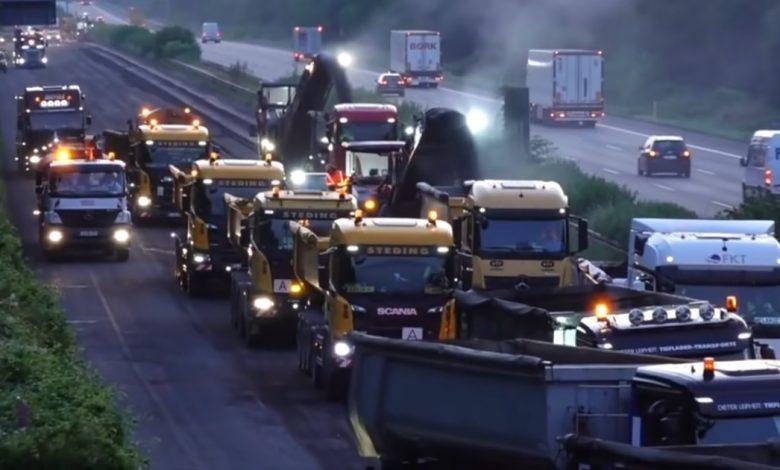 Nemții au reasfaltat 66 km de autostradă, pe 3 benzi, în nici 4 zile