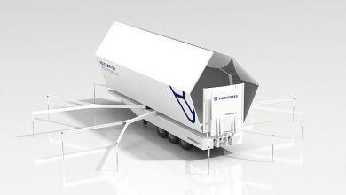 Semiremorcă Schwarzmüller transformată în platformă de aterizare pentru drone
